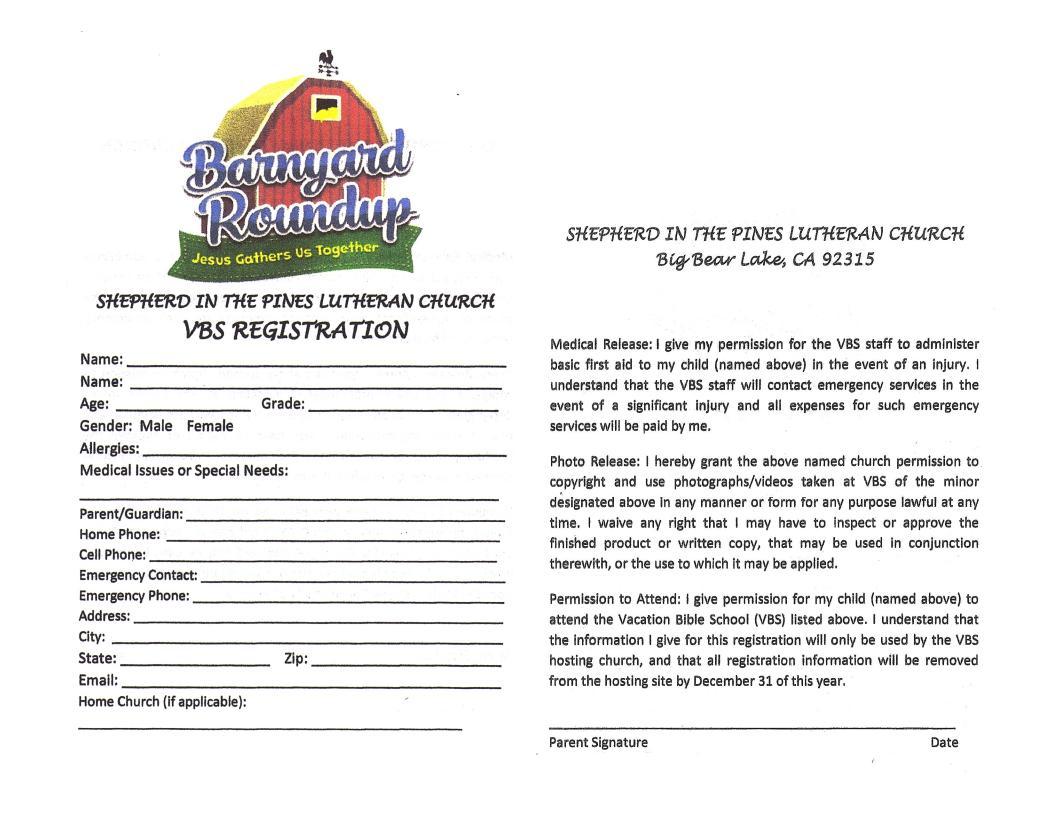 VBS Registration Form